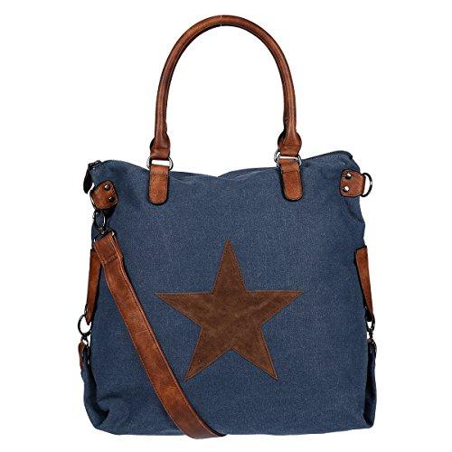 XL Christian Wippermann Damen Canvas Shopper Schultertasche Tasche Blau Blau