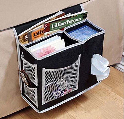 Bedside Caddy Beds/Bunks Hanging Organiser Pocket Sofa Cabin Beds Boy Bot Bed Tidy Storage Bag TV Remote Controller iPad iPhone Tissue Books Magazine Glasses Cable Pen Kids Toys, Black by FakeFace