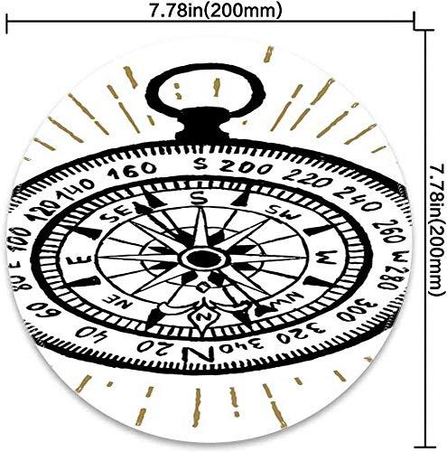 Runde Mausunterlage mit Kompass-Hand gezeichnetem Vintagem inspiriertem Seenavigations-Reise-themenorientiertem Schwarzweiss-Entwurfs-Schwarzweiss