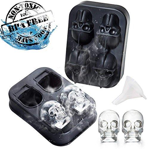 (ZD Bright 3D Skull Ice Schimmel-Food Grade Flexible Silikon Tray mit Deckel, Macht 4 Exquisite Skull Ice Cubes Für Ihren Whisky Oder Getränke, Awesome Halloween Gift)