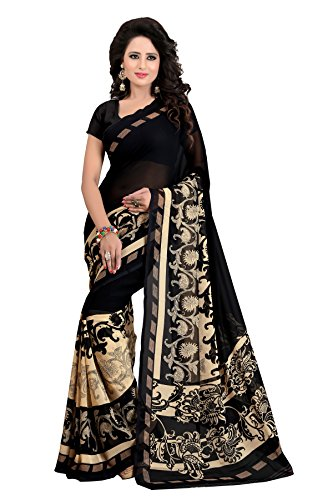 Clothsfab Women's Georgette Sarees With Blouse Piece (Am-_Black)