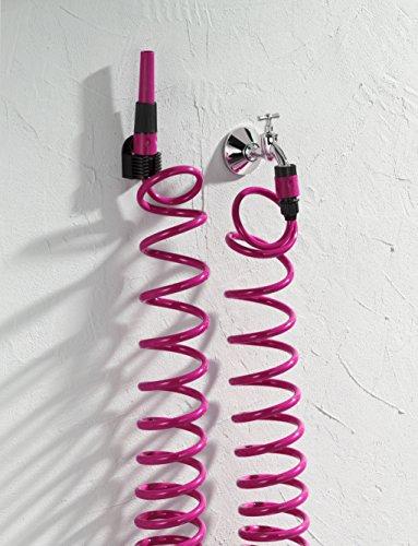 Spiral-Gartenschlauch mit Zubehör | 6-teilig | Wasserstop | ausziehbar bis 10 m Länge | Kommplet-Set | Berstdruck: 18 bar (Pink)