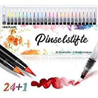 Watercolour Brush Pens,DIAOCARE 24 Colour+1 Water Brush,Brush Pens Set with Flexible Nylon Brush Tips,Watercolour Effect,Colouring Pens for Calligraphy/kids Painting/Adult Colouring Book (large)