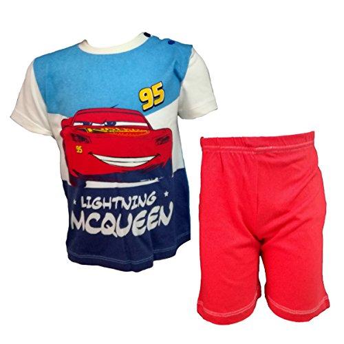 Disney completo neonato mezza manica pantaloncino in cotone cars nuova collezione art. wd101316 (rosso, 36 mesi)
