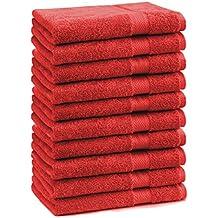 BETZ 10 Toallas de Cara 30x30cm Premium 100% algodón Color Rojo