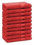 BETZ Lot de 10 Serviettes d'invités Taille 30x50 cm 100% Coton Premium Color Rouge