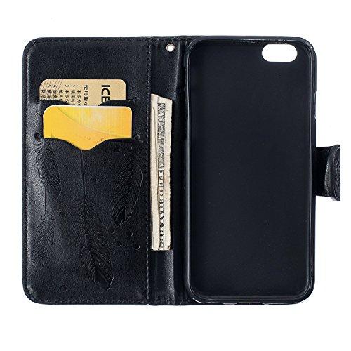 Custodia iPhone 6S Plus,Custodia iPhone 6 Plus,Custodia iPhone 6S Plus / 6 Plus, iPhone 6S Plus Cover, ikasus® iPhone 6S Plus / 6 Plus Custodia Cover [PU Leather] [Shock-Absorption] Protettiva Portafo Dream Catcher:Nero