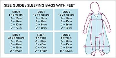Slumbersac - Saco de dormir con pies para niños y niñas (3,5 tog, mangas extraíbles)
