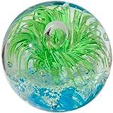 Kaltner Präsente Geschenkidee: Traumkugel Glaskugel Briefbeschwerer Kugel aus Glas Farbe Grün Hellblau (Ø 85 mm)