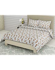 Double Bedsheets with 2 Pillow Covers Cotton | 300TC Thread Count Bed Sheet for Double, King and Single Bed Sets