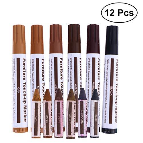 VROSE FLOSI 12 in 1 HolzMöbel Kratzer Reparatur Touch up Paint Stifte Buntstifte Getragen Blemish Verbergen Tool Set -