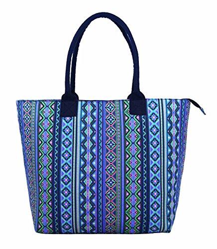 Da donna grande Borsa Shopper Borsa da spiaggia in tela a righe leggero Borsa a tracolla Holiday multicolore Polka Dot Black large Aztec Purple