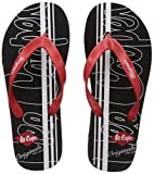 Lee Cooper Men's Black and Red Vinyl Flip-Flops and House Slippers - 6 UK