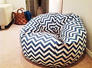 Style Chevron Pattern Bean Bags Xxl With Beans Filled, Provides Ultimate Comfort