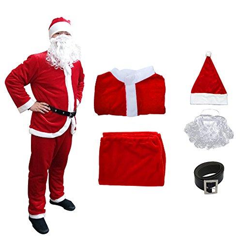 Fanng Herren weihnachtsweihnachtsmann-kostüm Deluxe plüsch-weihnachtsweihnachtsmann-Klage-kostüm 6pcs größe m bis l XX-Large Rot