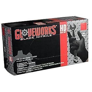 AMMEX - GWBN46100 - Nitrile Gloves - Gloveworks - HD, Disposable, Powder Free, 6 mil, Large, Black (Case of 1000)