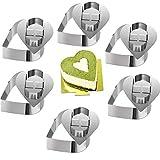 ONEDONE Mousse Ringe Tortenring Edelstahl Kuchenform mit Schieber, 8cm Durchmesser, 6 Stück (Herz)