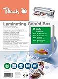 Peach PPC500-02 - Pack de 25 láminas de plastificar, varios tamaños, transparente