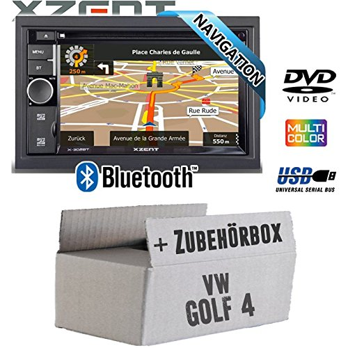 VW Golf 4 IV - Autoradio Radio Xzent X-302BT-MK2 | 2-Din Navigation Bluetooth USB CD DVD Touchscreen TFT Navi Europa 47 Länder HDMI Einbauzubehör - Einbauset