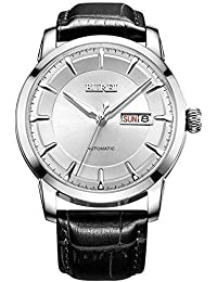 Burei® Herren Luminous Tag und Datum Automatik Uhr mit schwarzem Kalbsleder Band, Silber Lünette Weiß Zifferblatt