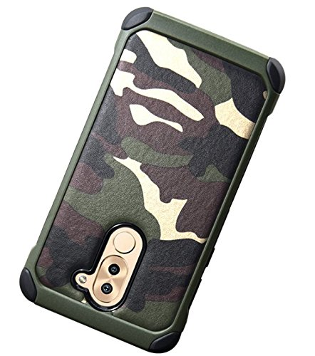 Honor 6X Hülle, Huawei Honor 6X Camo Hülle Defender Shockproof Drop proof High Impact Rüstung Plastic und Leder TPU Hybrid Rugged Camouflage HandyHülle Schutz Cover Hülle für Huawei 6X (4.7 inch) – Gr Grun 2