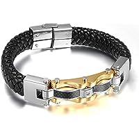Vnox Il braccialetto di cuoio intrecciato dell'acciaio inossidabile Uomo del motociclista gioielli CZ diamante in fibra di carbonio intarsio Wristband del polsino del