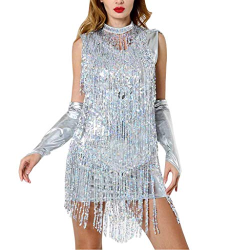 Deloito Damen Sexy Tanzkleidung Neckholder Minikleid Pailletten Quaste Tanzkleid Ballroom Kostüm Latein Tanzrock (Silber,Medium) -
