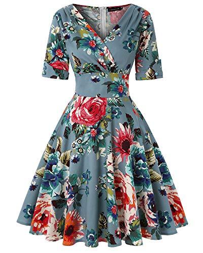 MINTLIMIT Damen V-Ausschnitt Floral Halbe Ärmel Midi Flare Retro Kleider Cocktailkleider (Floral Dunkelblau,Größe XL) Flare Kleid