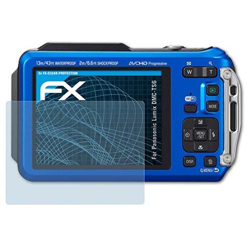 atFoliX Schutzfolie kompatibel mit Panasonic Lumix DMC-TS6 Folie, ultraklare FX Displayschutzfolie (3X)