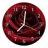 DekoGlas Glasuhr 'Rose rot' Uhr aus Acrylglas, rund große Motiv Wanduhr Ø30 cm, lautlos für Wohnzimmer & Küche