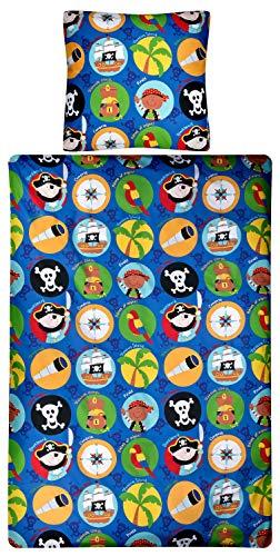 Aminata Kids - Kinder-Bettwäsche-Set Pirat | 135-x-200-cm | Junge | Totenkopf-Flagge | hell-blau, bunt | Piraten-Bettwäsche 100-% Baumwolle | mit Marken-Reißverschluss & - Biber Jungen Kostüm