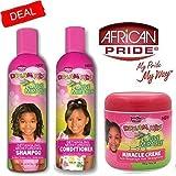African Pride Olive Miracle set di 3 prodotti districanti idratanti capelli per bambini