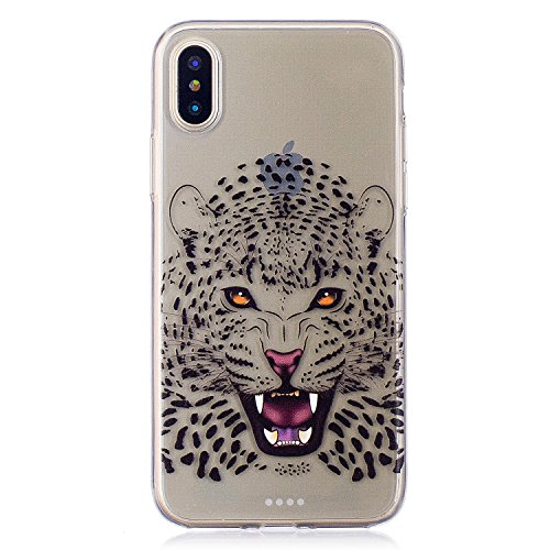 Per iPhone X,Sunrive Custodia Cover Case in molle Trasparente Ultra Sottile TPU silicone Morbida Flessibile Pelle Antigraffio protettiva(tpu ragazza) tpu ghepardo