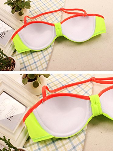 Damen Bikini Set BH Neckholder Badeanzug Bandage mit Strass Gelb