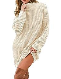 QinMM Mini Vestido de Jersey Suéter Suelto de Manga Larga con Cuello Redondo de Punto para