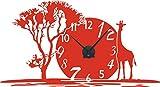 GRAZDesign 800350_BK_034 Wandtattoo Uhr mit Uhrwerk Wanduhr für Wohnzimmer Afrika Giraffe Land Baum (105x57cm//034 orange//Uhrwerk schwarz)