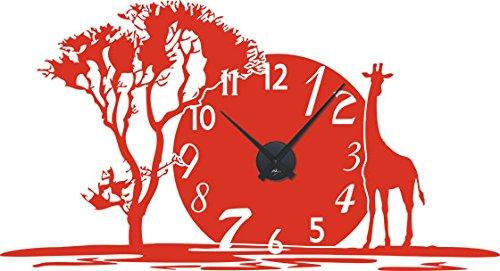 GRAZDesign 800350_BK_034 Wandtattoo Uhr mit Uhrwerk Wanduhr für Wohnzimmer Afrika Giraffe Land Baum (105x57cm//034 orange//Uhrwerk schwarz) (Land-wand-dekor-aufkleber)