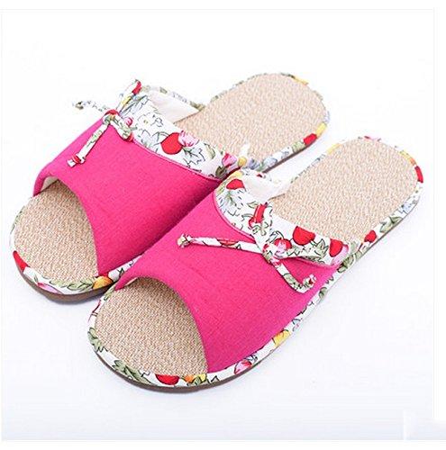 Dentelle Lovely Femme coton et de lin pantoufles Plancher en bois Flat Spring et d'automne en coton pantoufles en coton ( couleur : # 1 , taille : 38-39 ) # 1