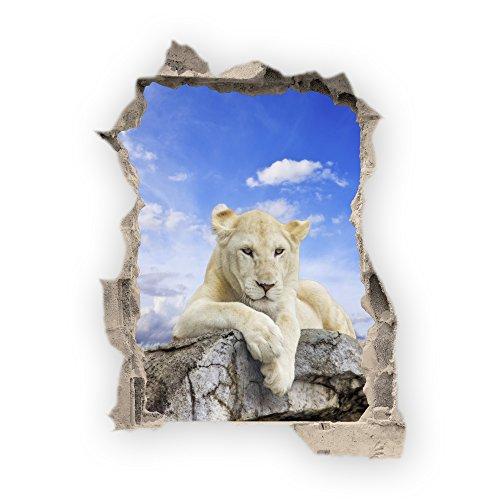 Haus und Deko Wandbild Sticker 3D wild Life Foto Tapete Wandtattoo ca. 125x100 cm in HD Qualität #1508 (White Lion) (Tiger White Wandtattoo)