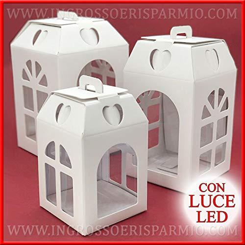 Ingrosso e risparmio scatola in cartone bianco a lanterna con luce a led e finestrelle per bomboniere fai da te originali matrimonio, battesimo, comunione (standard)
