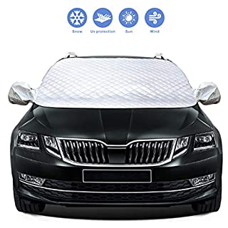Idefair Car Windshield Cover, Protective Windscreen Cover Snow Cover Winter Snow Removal Sun Shade Cover