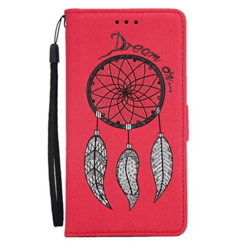 iPhone 5S/5/SE Flip Wallet Case, SOUNDMAE Wind Bell Pattern PU Leather Flip Wallet Cover Shockproof Full Body Protector with Card Slot, Cash Pocket Wallet for iPhone 5S/5/SE (Blue) Rose Red