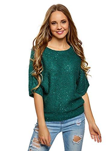oodji Ultra Damen Melange-Pullover mit Fledermausärmeln, Grün, DE 38 / EU 40 / M