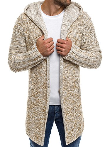 OZONEE Herren Strickjacke Kapuzenpullover Hoodie Sweatshirt MADMEXT 1734 M BEIGE
