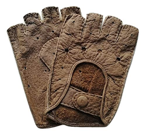 Leder Fahrer Handschuhe (Exklusive fingerlose Auto-Handschuhe aus 100% echtem Peccary Leder, handgenäht, Herren, Damen (8, Fasan))