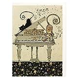 BA0114 Carte de v?ux Motif chats et piano avec finition en relief