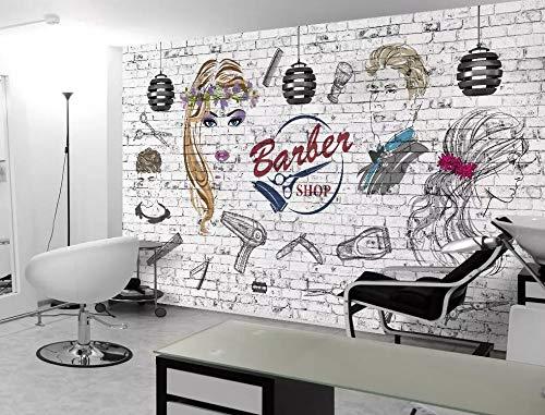 Papel tapiz de papel tapiz 3D personalizado Pared de ladrillo Peluquería Tienda de belleza Fondo de pared Fondo Pintura de fondo Papel de pared, 350 * 245 cm