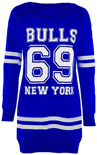Neuer Frauen Langarm Übergröße Printed Sweatshirt Pullover Tops Minikleid 36-50 69 Bulls Royal Blue
