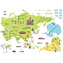 Pegatina de vinilo gigante del mapa del mundo