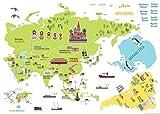 Ambiance-Live - Mapa Gigante de Sticker Autoadhesivo Mural para niños, con Unas Dimensiones de 120...